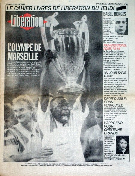 D tails du journal lib ration du 27 05 1993 - Coupe d europe des clubs champions 1993 ...